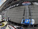 BRISTOL, TN - AUGUST 21:  Kevin Harvick, driver of the #4 Busch Beer Chevrolet, takes the checkered flag to win the NASCAR Sprint Cup Series Bass Pro Shops NRA Night Race at Bristol Motor Speedway on August 21, 2016 in Bristol, Tennessee. The race was delayed due to inclement weather on Saturday, August 20.  (Photo by Rainier Ehrhardt/NASCAR via Getty Images)